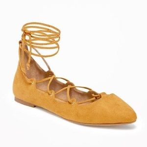 mustard yellow suede lace up strappy flats